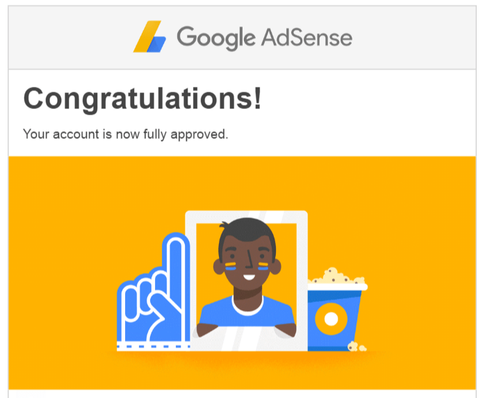AdSense approval email from Google