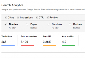 Search analytics result on my blog