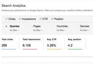 Search analytics result on my blog