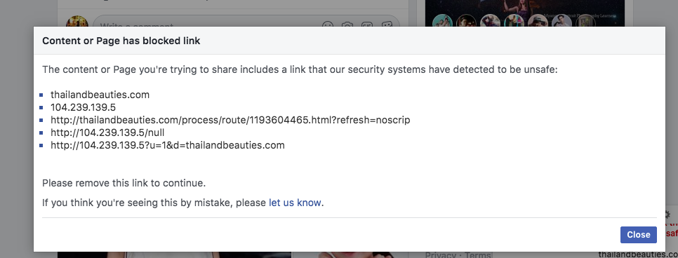 URL blocked by Facebook