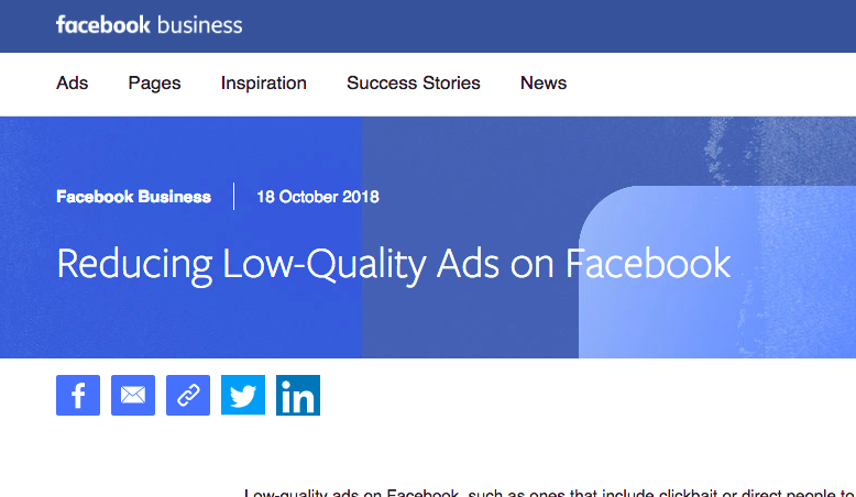Facebook reduce low quality Ads